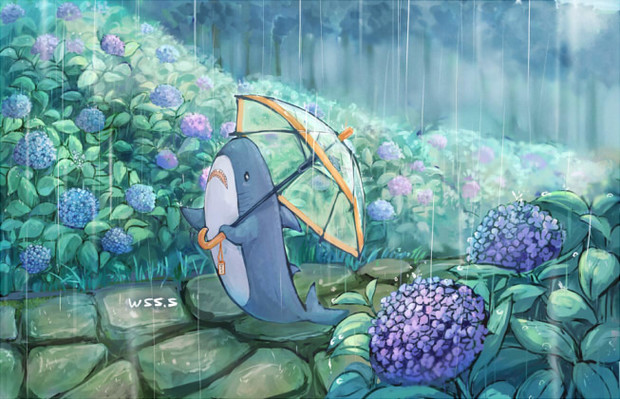 紫陽花畑のサメくん