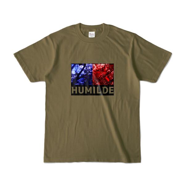 Tシャツ   オリーブ   HUMILDE_Blue&Red