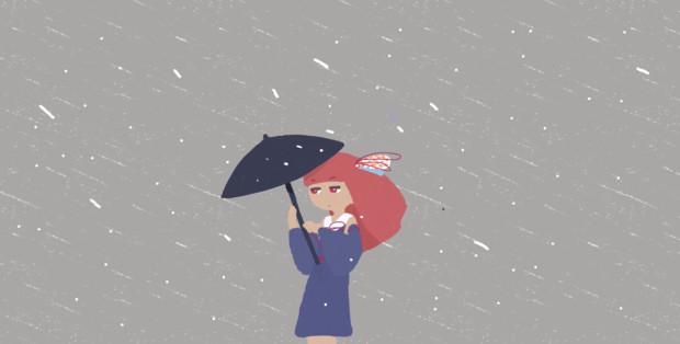 雨風に立ち向かう茜ちゃん