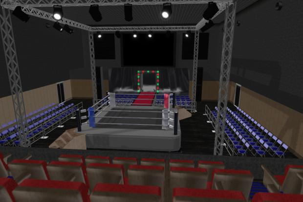 プロレスリング会場ステージ