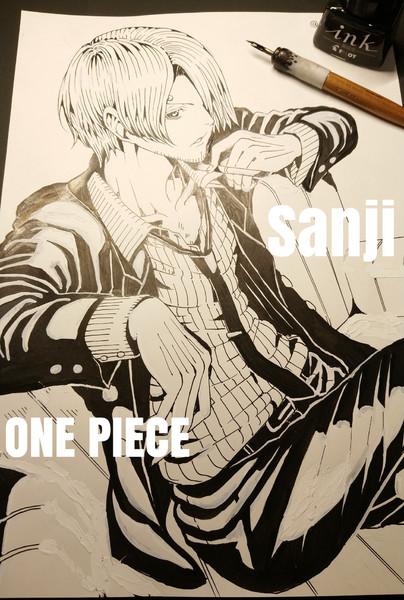 サンジ - ワンピース / Sanji - ONE PIECE【線画】完成イラスト過去作2020