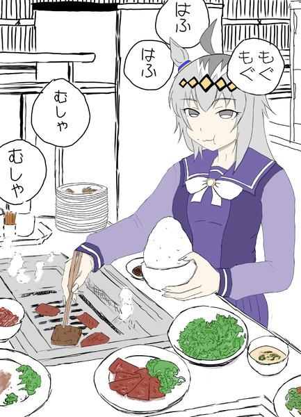 焼肉を食べるオグリキャップ