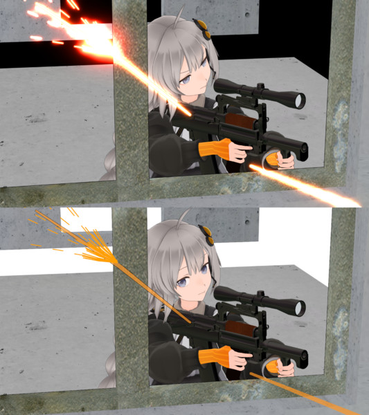 銃撃の火線とスパークっぽいもの