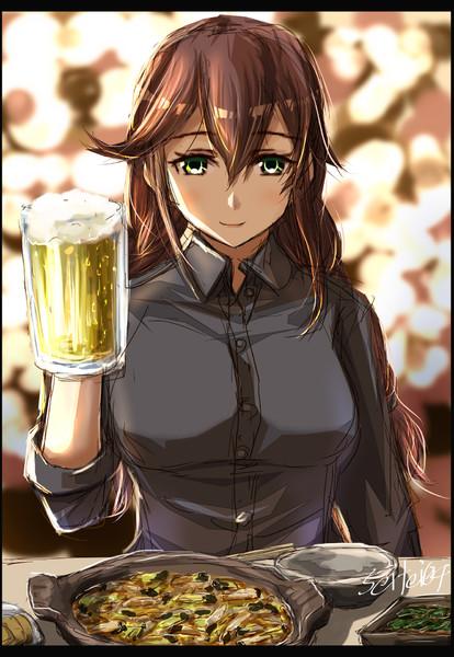 能代姉さんとビールとくじらかやきで乾杯よ