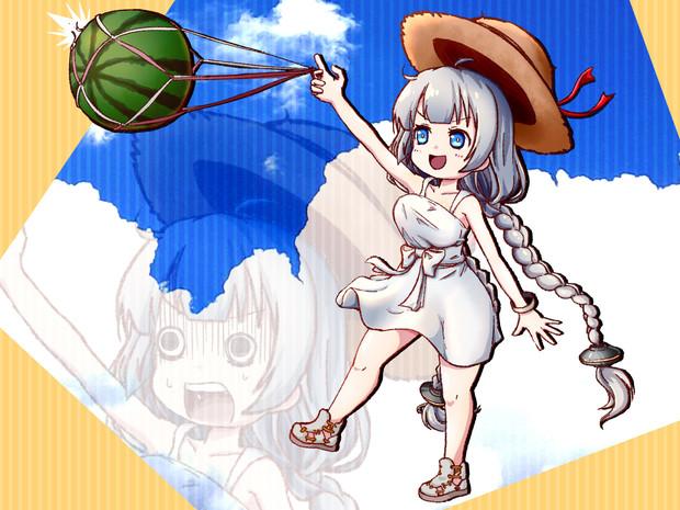 夏のあかりちゃん スイカ