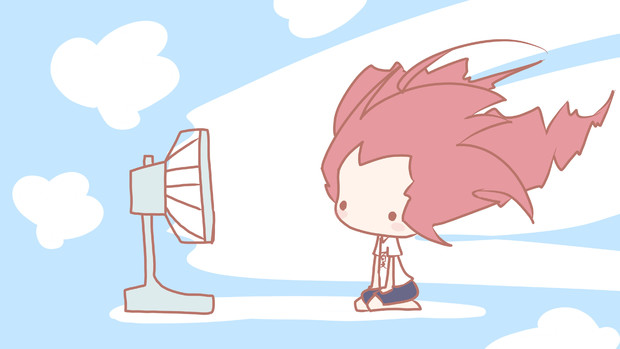 扇風機とテトさん