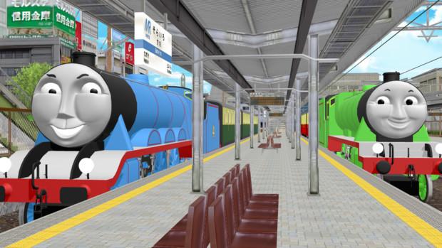 空色町駅1番線と2番線、急行列車停車中。