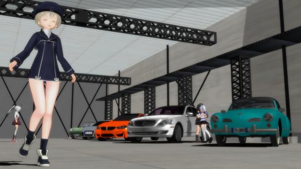 ドイツ車が展示されている倉庫内