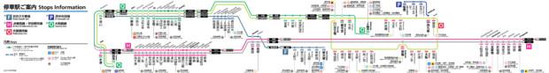 大和路線・学研都市線などの路線図(車内の路線図のアレンジ)