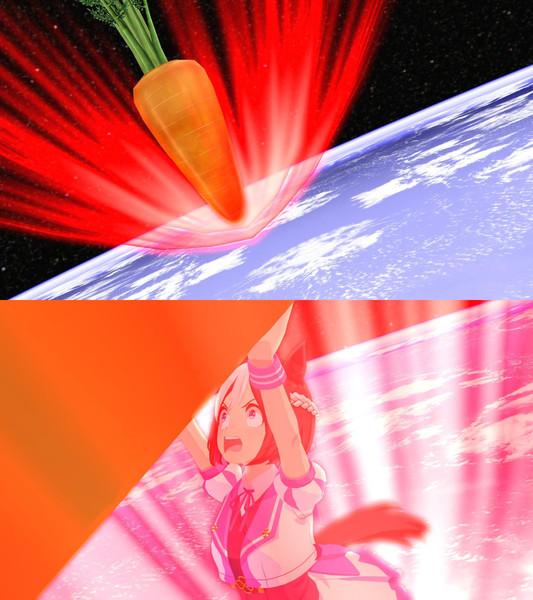 大気圏突入しようとする小惑星にんじんを止めるスペちゃん