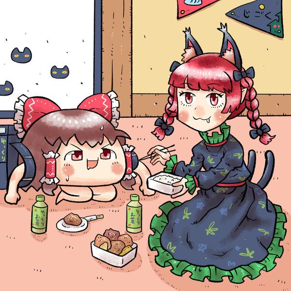 ゆっくりイーツで注文した唐揚げ弁当を食べる火焔猫燐さん
