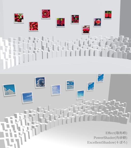 額縁付き白い部屋【MMDステージ配布】