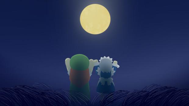 月を見る咲夜さんと美鈴