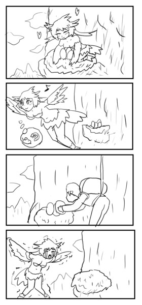 卵を温めるハーピィの漫画
