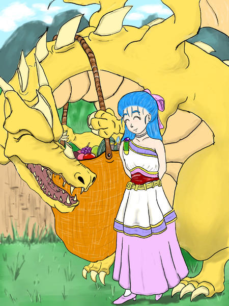 フローラとグレイトドラゴン(幼)