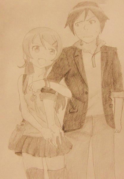 桐乃と京介を鉛筆一本で描いてみた^^