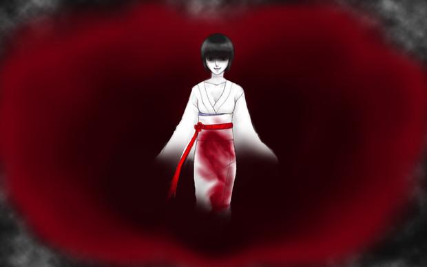 血塗れの着物の女
