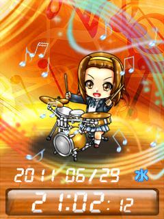 ◆けいおん!! 田井中 律 待受Flash時計