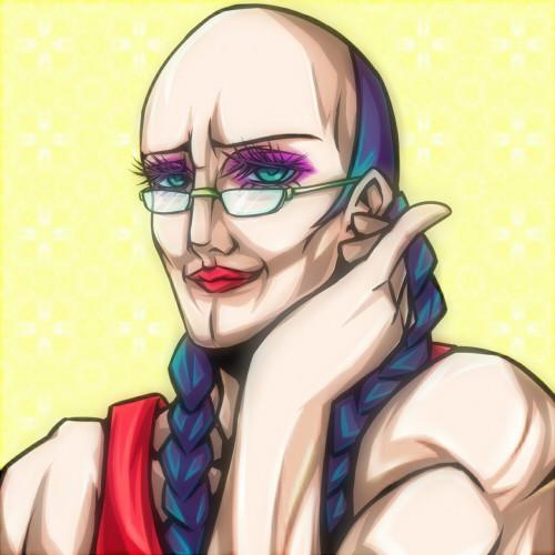 辮髪メガネ筋肉質なオカマちゃんの図 ぜらちん さんのイラスト