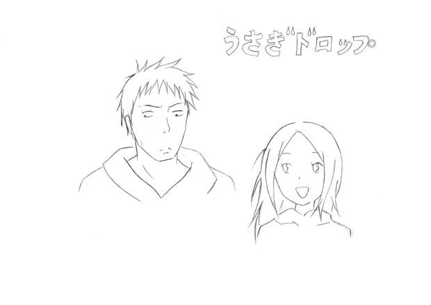 うさぎドロップ ‐ 大吉・りん (下描き)