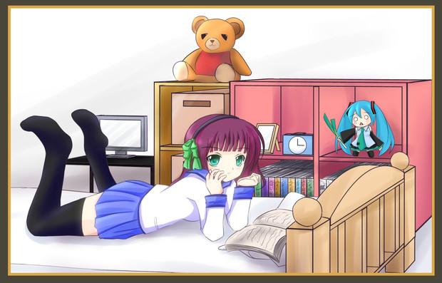本を読む少女。