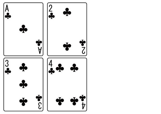 【背景素材75】トランプ(クラブ)1~4