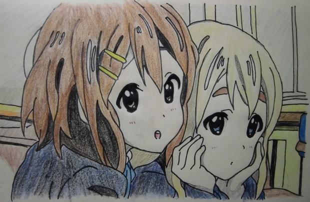 けいおん!!2話の唯とムギ描いてみた。