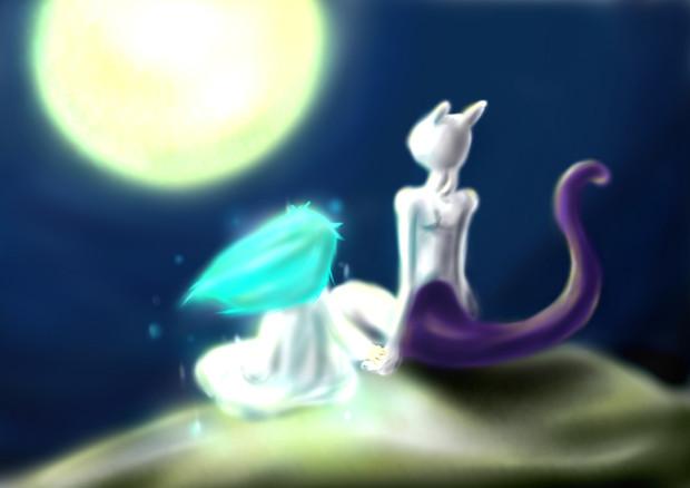ミュウツーと月