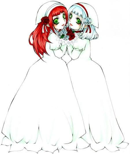 雪白と薔薇紅