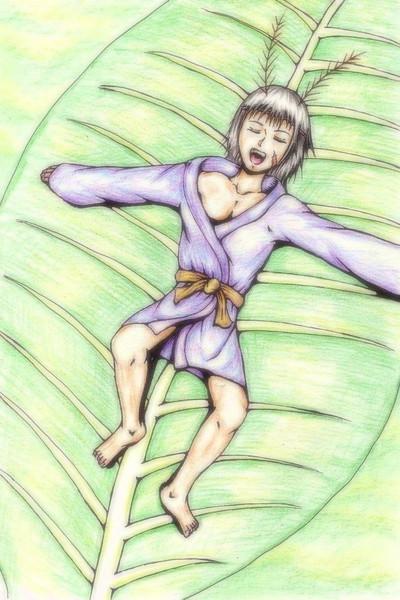 【色鉛筆画】触角系少女 その2