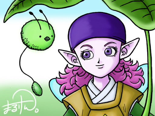 ドラクエ10の種族エルフ(女)を描きました。