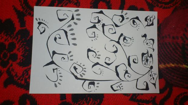 蔦(モノクロ)【筆ペン画】