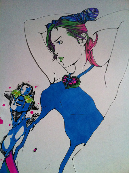 アナログで空条ジョリーン描いてみた