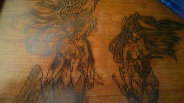 学校机にシンフォギア描いてみた