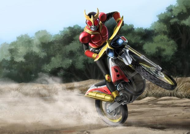 オフロードバイクで走る仮面ライダークウガの壁紙