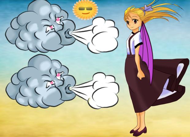 太陽に敗れた北風さんは今は旅人のコートではなく女の子のスカートをめくってます