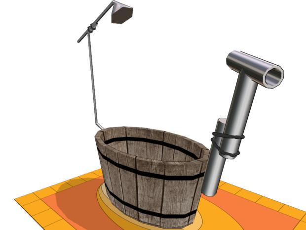 【MMD-OMF2】 風呂桶セット【バラケます】