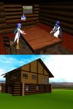 【MMD-OMF2】ログハウス的な建物