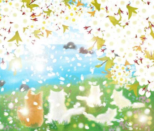 お花見にゃんこGIFアニメ