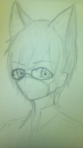 描いてみた~其の七十七~ 黒縁眼鏡獣耳マスク黒髪