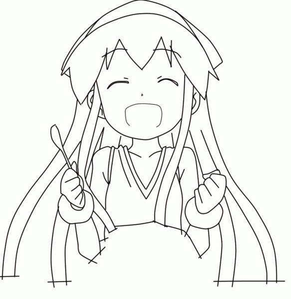 エビエビ~ゲソゲソ~が動く線画GIFアニメ