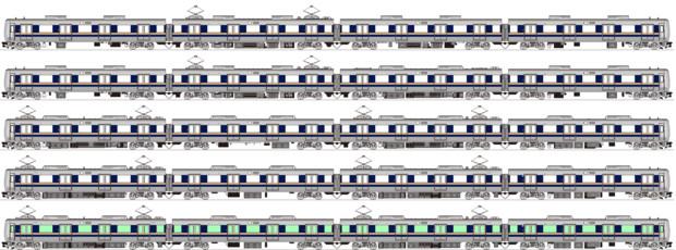 JR西207系4両編成各種 側面イラスト