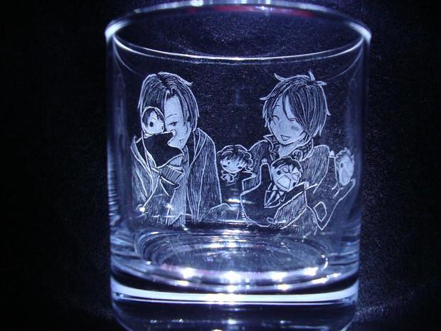 君と僕。悠太と春ちゃん手彫りグラス