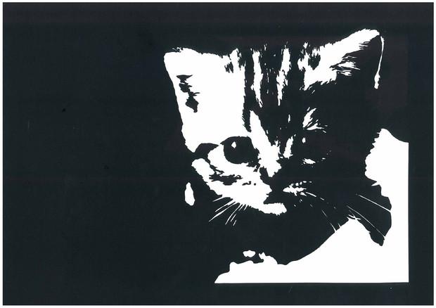 9 子猫のリアルめの切り絵