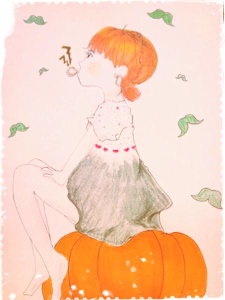 かぼちゃの上で