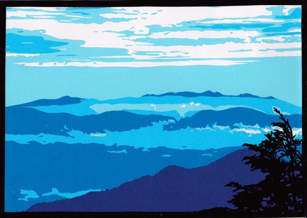 切り絵燕岳登山道からの八ヶ岳 しみっちゃん さんのイラスト