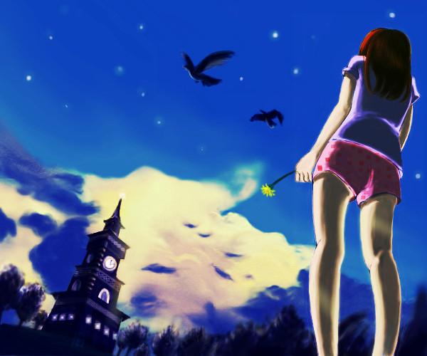 空と時計塔と女の子 カイー さんのイラスト ニコニコ静画 イラスト