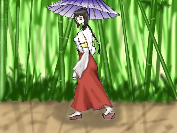 傘と竹と巫女さんと