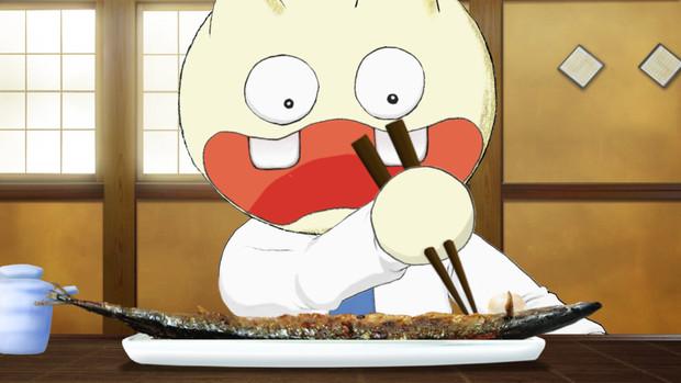 実写のサンマを食べるアニメキャラ