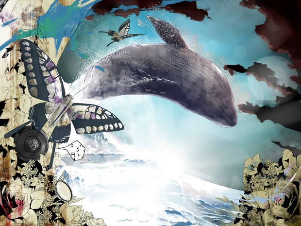 鯨と蝶々と青い海